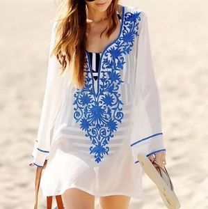 Loose Beach Dress with Tassels V-neck Beach Cover